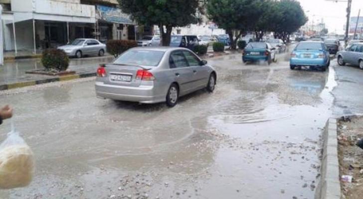شوارع مدينة اربد خلال فصل الشتاء