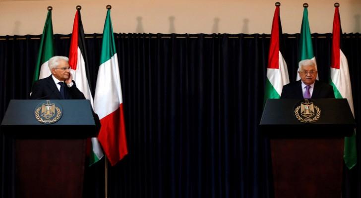 الرئيس الفلسطيني محمود عباس خلال المؤتمر الصحفي