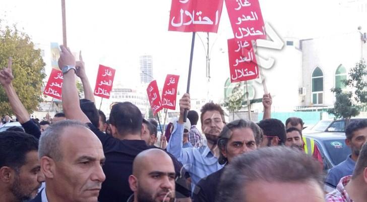 المحتجون خلال خروجهم من مديرية الشرطة