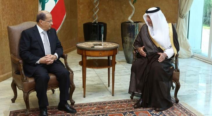 جانب من لقاء الوفد السعودي بالرئيس اللبناني ميشال عون