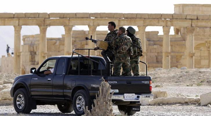 قوات موالية للحكومة السورية قرب المدينة الأثرية في تدمر