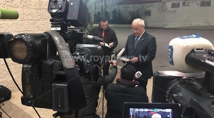 أمين سر اللجنة التنفيذية لمنظمة التحرير الفلسطينية الدكتور صائب عريقات