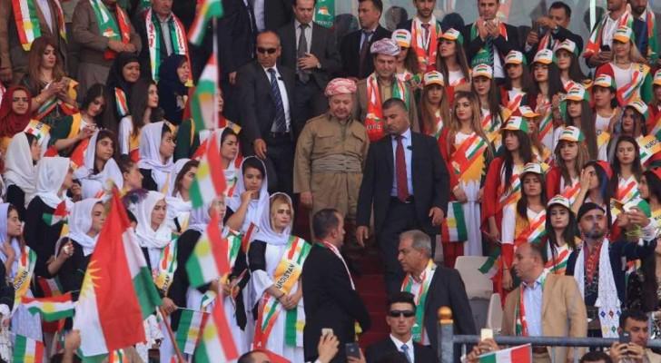 ألقى البرزاني كلمة أمام الحشود قبل 3 أيام من استفتاء الاستقلال