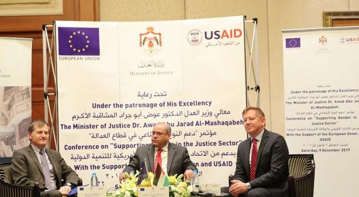 خلال افتتاحه أعمال مؤتمر دعم النوع الاجتماعي في قطاع العدالة