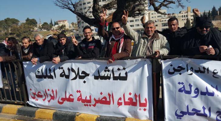 ارشيفية من اعتصام المزارعين امام مجلس النواب