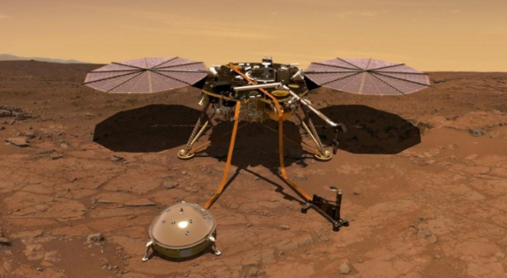 صورة فنية لمسبار استكشاف كوكب المريخ من الداخل (إنسايت)