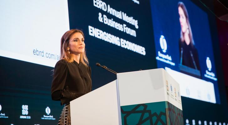 """جلالة الملكة رانيا العبدالله تفتتح جلسة """"مستقبل العمل""""في مركز الملك الحسين للمؤتمرات"""