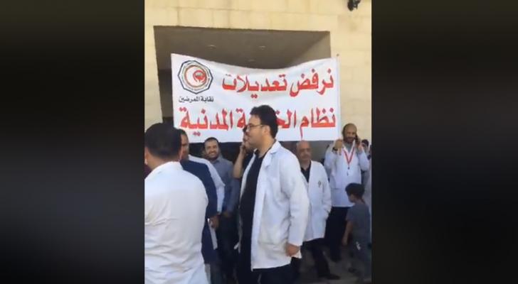 الصورة من اضراب مستشفى البشير