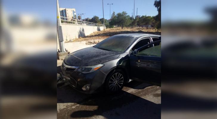 صورة للمركبة التي تعرضت للحريق
