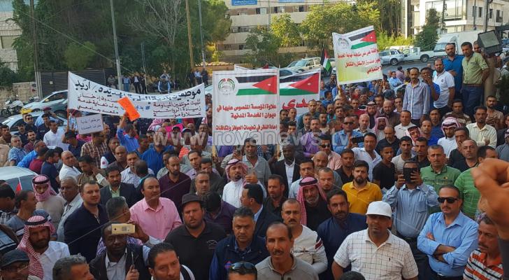 جانب من اعتصام موظفي البلديات في عمان - ارشيفية