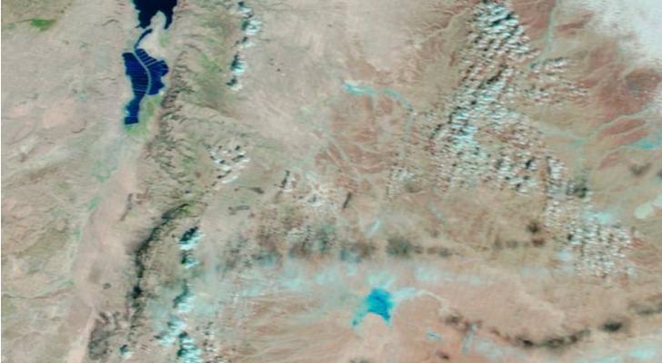 طقس العرب: الأمطار شكلت حوضا في الجفر يقارب مساحة بحرية طبريا