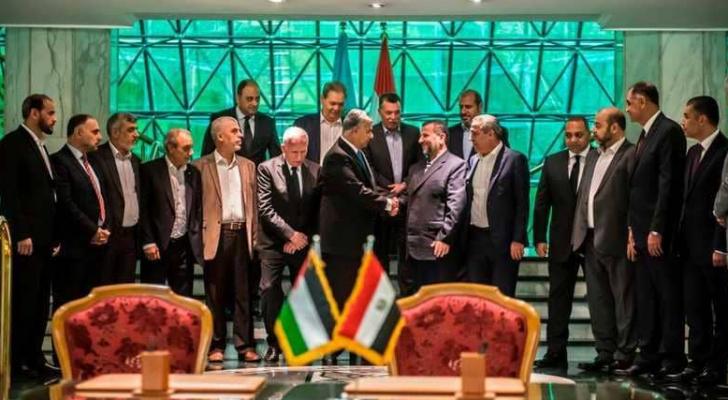 جانب من اللقاء المصري الفلسطيني