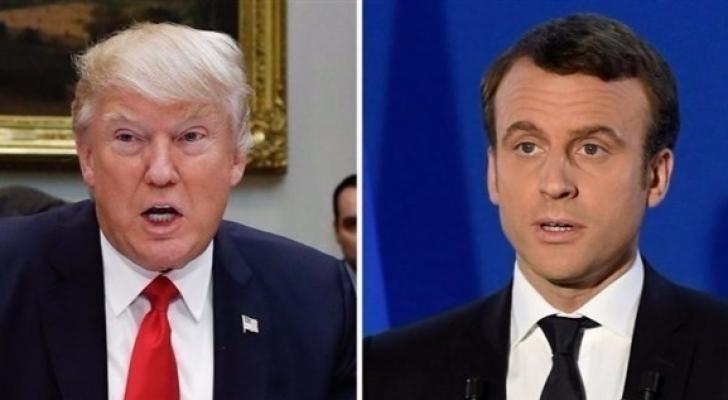 الرئيس الفرنسي ماكرون ونظيره الأمريكي ترمب
