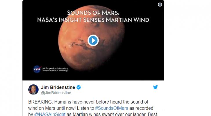 """رئيس """"ناسا"""" ينشر فيديو يتضمن تسجيلا لصوت الرياح على سطح كوكب المريخ"""