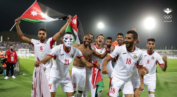 جانب من احتفال النشامى بفوزهم على المنتخب السوري