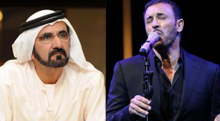 الفنان العراقي كاظم الساهر وحاكم دبي الشيخ محمد بن راشد