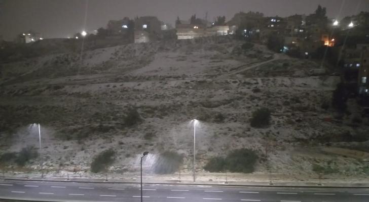 الثلوج في منطقة وادي عبدون بالعاصمة عمان