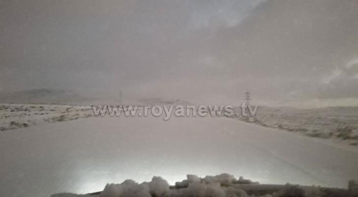 الثلوج في محافظة الطفيلة صباح الجمعة