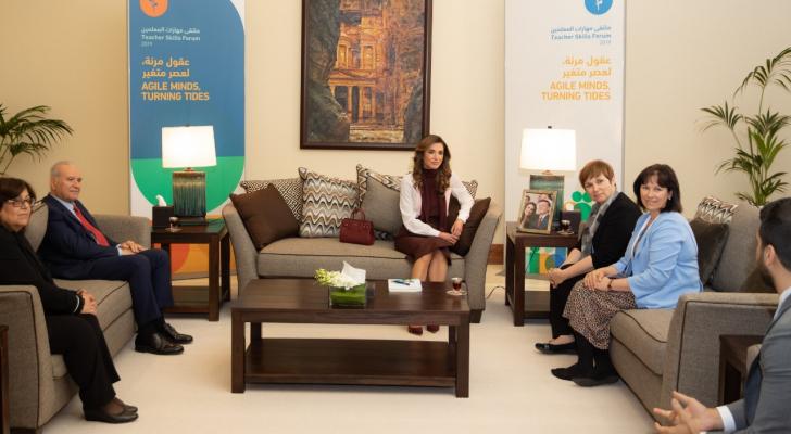 الملكة رانيا تلتقي ممثلين من جامعة هارفارد ومنظمة البكالوريا الدولية