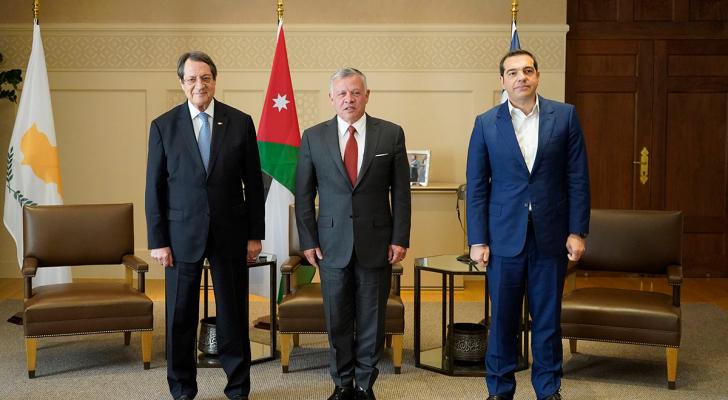 جلالة الملك عبدالله الثاني والرئيس القبرصي ورئيس وزراء اليونان
