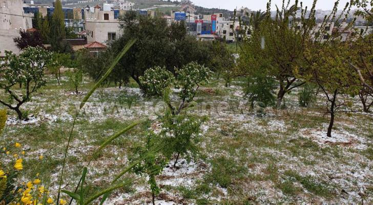المملكة تتأثر بمنخفض جوي من الدرجة الثانية أدى إلى تساقط البرد والأمطار