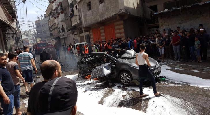 من استهداف المركبة بغزة