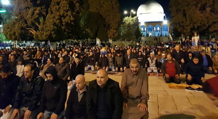60 ألف مصل أدوا صلاتي العشاء والتراويح بالمسجد الأقصى