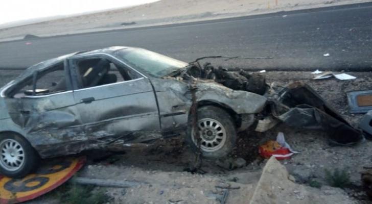 صورة ارشيفية لحادث سابق على الطريق الصحراوي