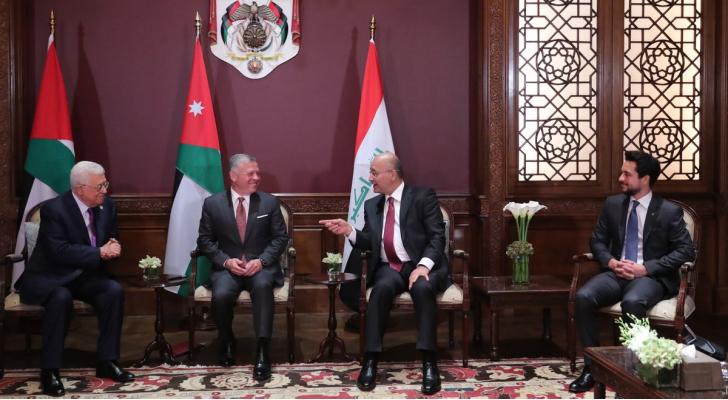 جلالة الملك ولي العهد والرئيسين العراقي الفلسطيني