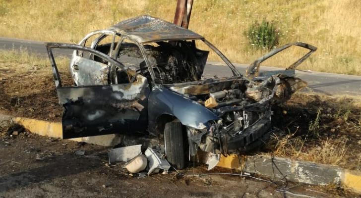 صورة للمركبة التي تعرضت لحادث التدهور