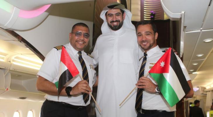 طائرة الإمارات A380 تصل عمّان في أول رحلة منتظمة