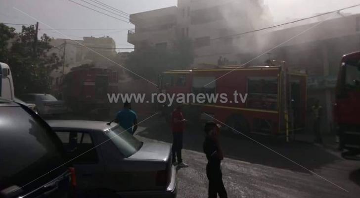 حريق في أحد مولات الادوات المنزلية في السلط ولا إصابات