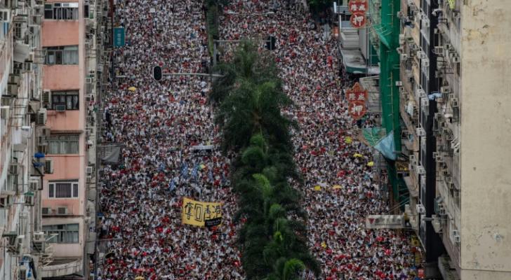 تظاهرة ضخمة في هونغ كونغ