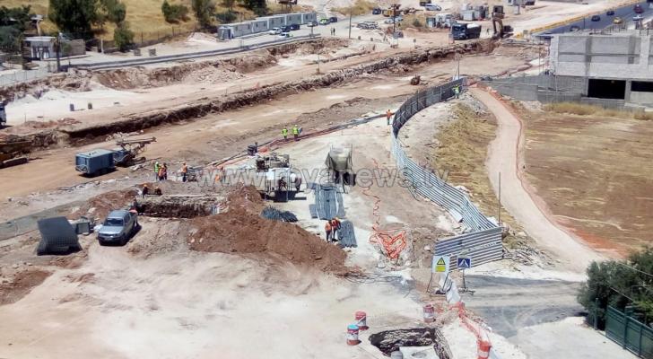 الصورة من مشروع الباص السريع في منطقة طبربور