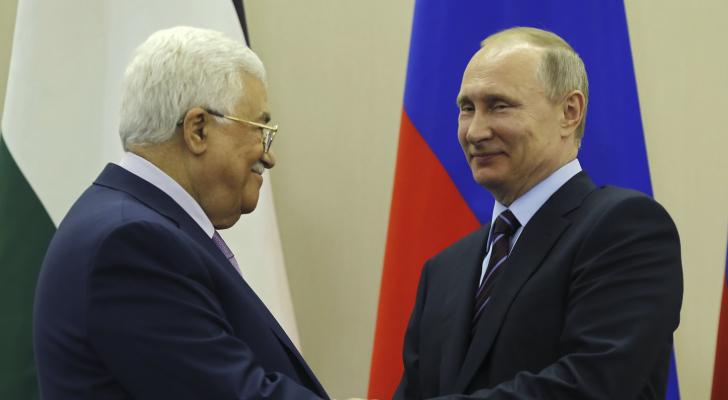 الرئيس الروسي فلاديمير بوتين ونظيره الفلسطيني محمود عباس