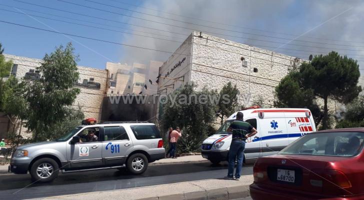 حريق مجمع الروضة في ضاحية الرشيد بالعاصمة عمان