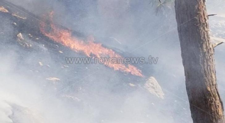 حريق سابق في منطقة ثغرة عصفور