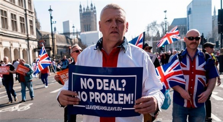 ظاهر في إحدى المسيرات المؤيدة للانفصال البريطاني عن الاتحاد الأوروبي - ارشيفية
