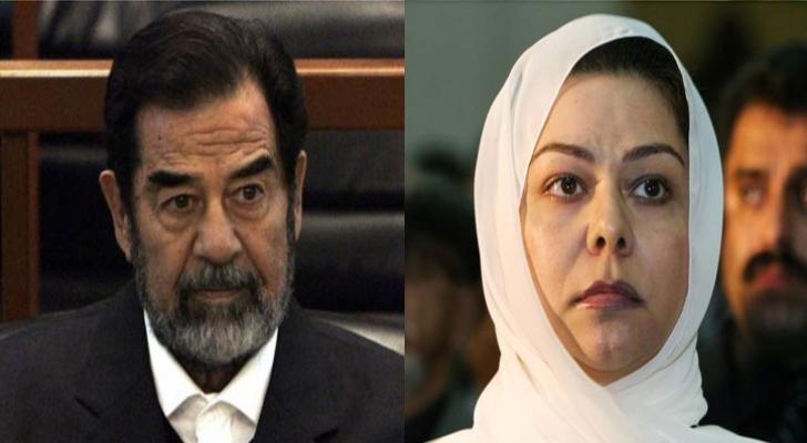 الرئيس العراقي الراحل صدام حسين وابنته رغد
