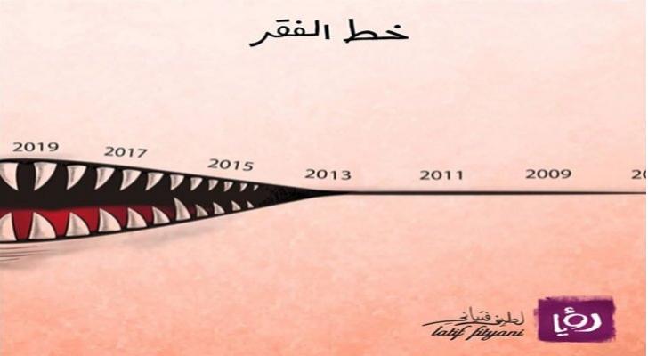 خط الفقر - كاريكاتير لطيف فتياني لرؤيا