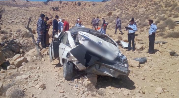 حادث تدهور مركبة في منطقة الهيشة بمحافظة معان