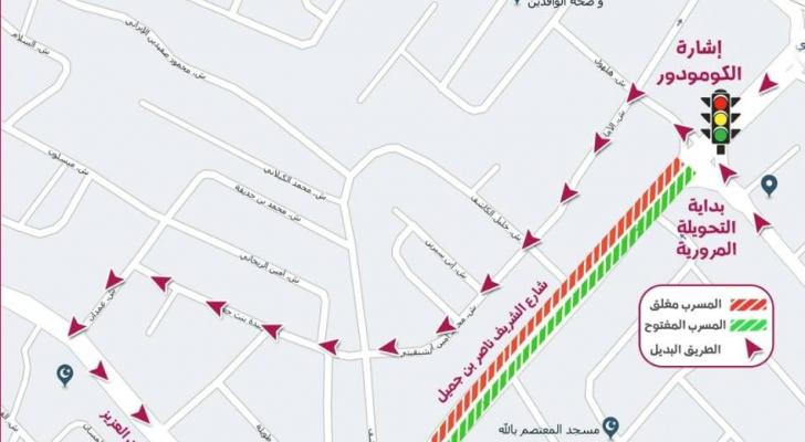خارطة للتحويلات المرورية
