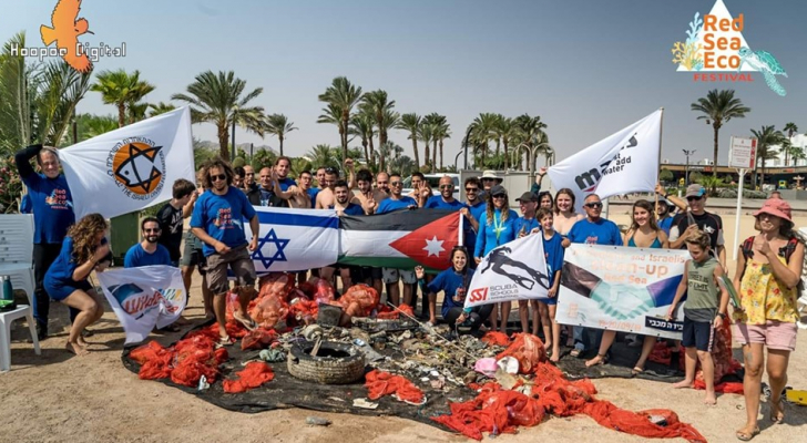 صورة جماعية لغواصين من الأردن وكيان الاحتلال