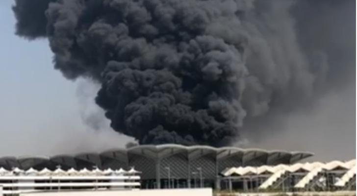 حريق بمحطة قطارالحرمين في مكة المكرمة
