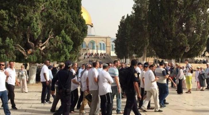 عشرات المستوطنين يقتحمون باحات الأقصى تحت حماية شرطة الإحتلال