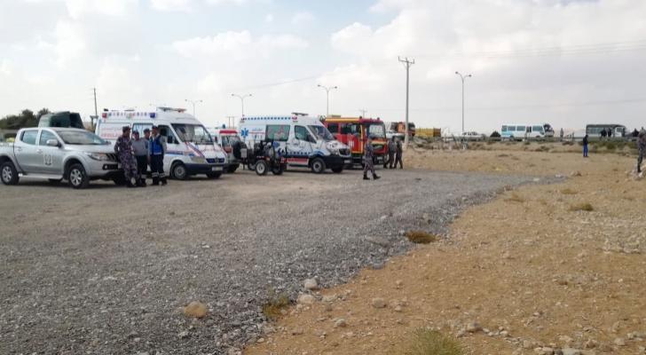 كوادر الدفاع المدني في منطقة سيول بالأردن
