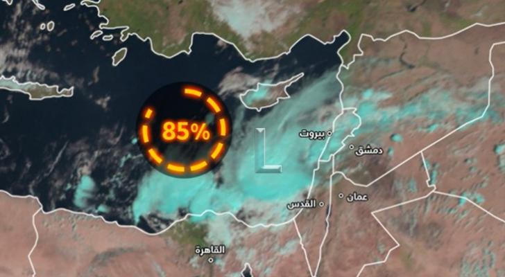 منخفض جوي عميق بخصائص شبه مدارية في شرق المتوسط وتأثيرات محتملة على الأردن السبت