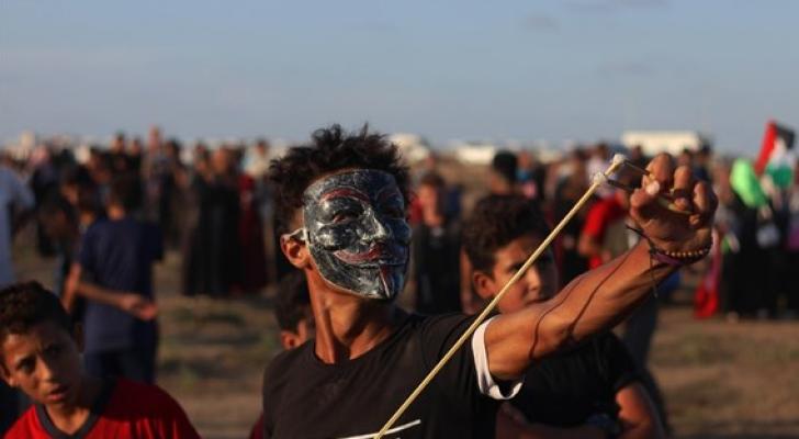جانب من المظاهرات بمسيرات العودة في غزة