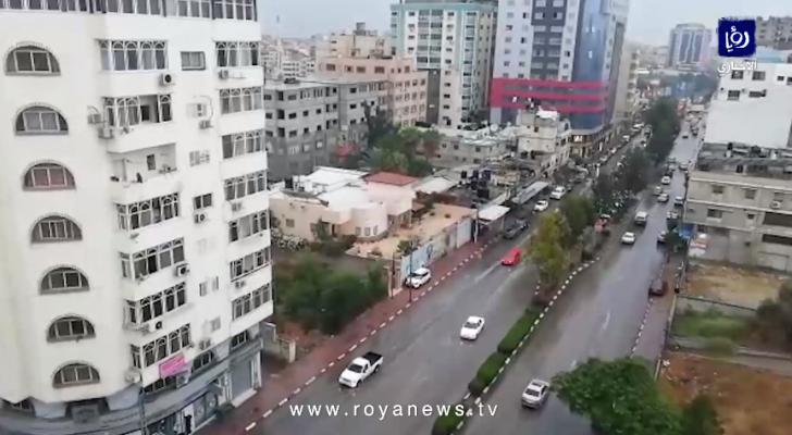 تساقط الأمطار في غزة
