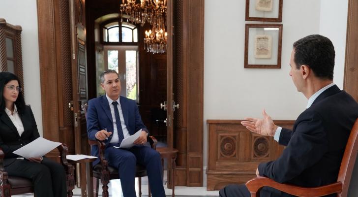 بشار الأسد يجري مقابلة مع وسائل إعلام سورية